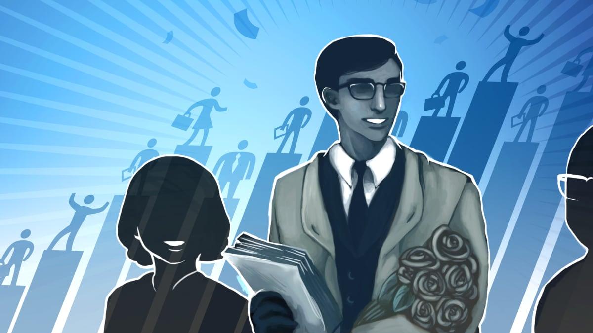 Grafiikka, jossa on mies puku päällä ja naisen siluetti.