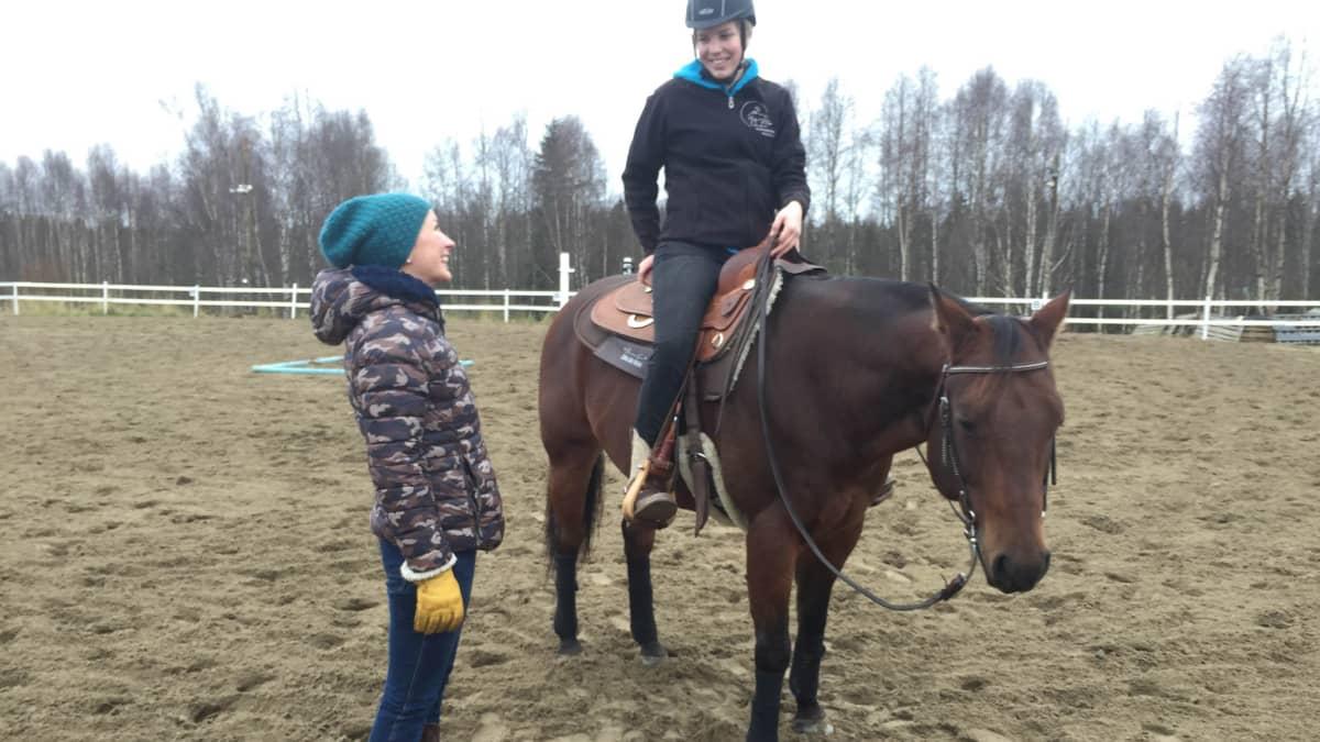 Lännenratsastaja, valmentaja ja hevonen.
