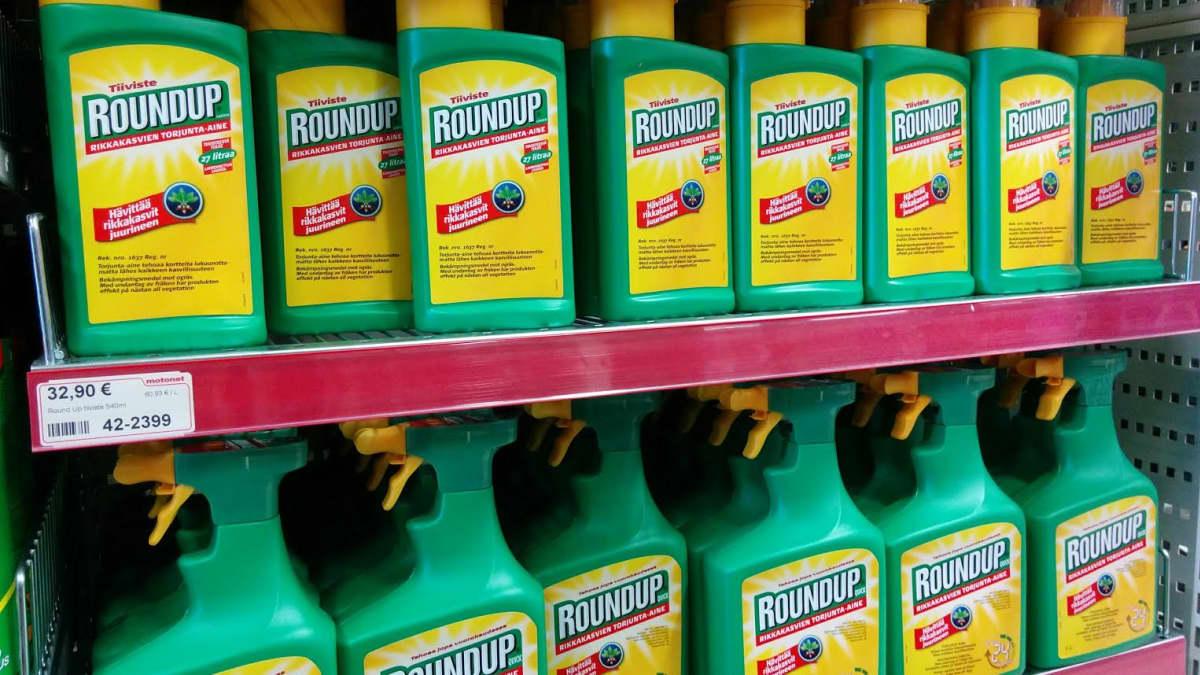 Yleisesti kaupassa myytävä tuote sisältää glyfosaattia.