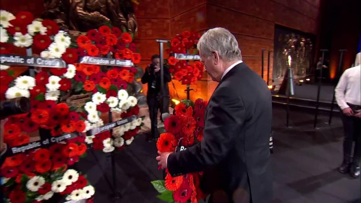 Presidentti Niinistö Israelissa holokaustin muistotilaisuudessa