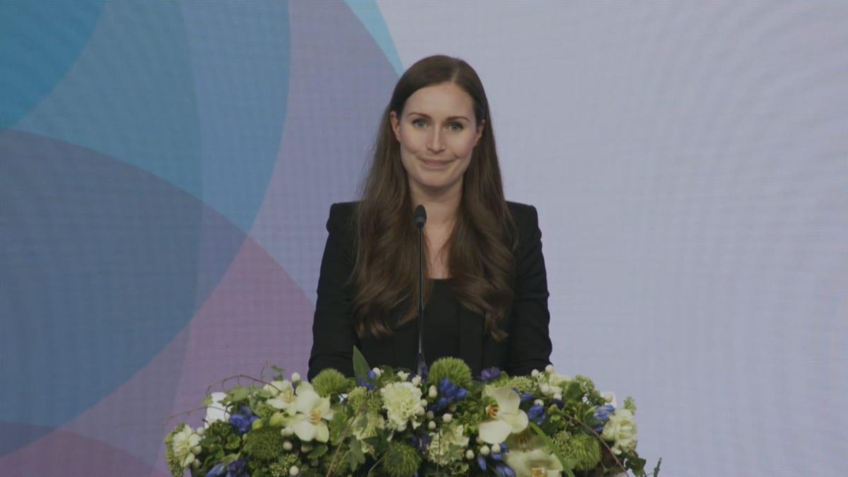 Pääministeri Sanna Marinin puhe ja tiedotustilaisuus