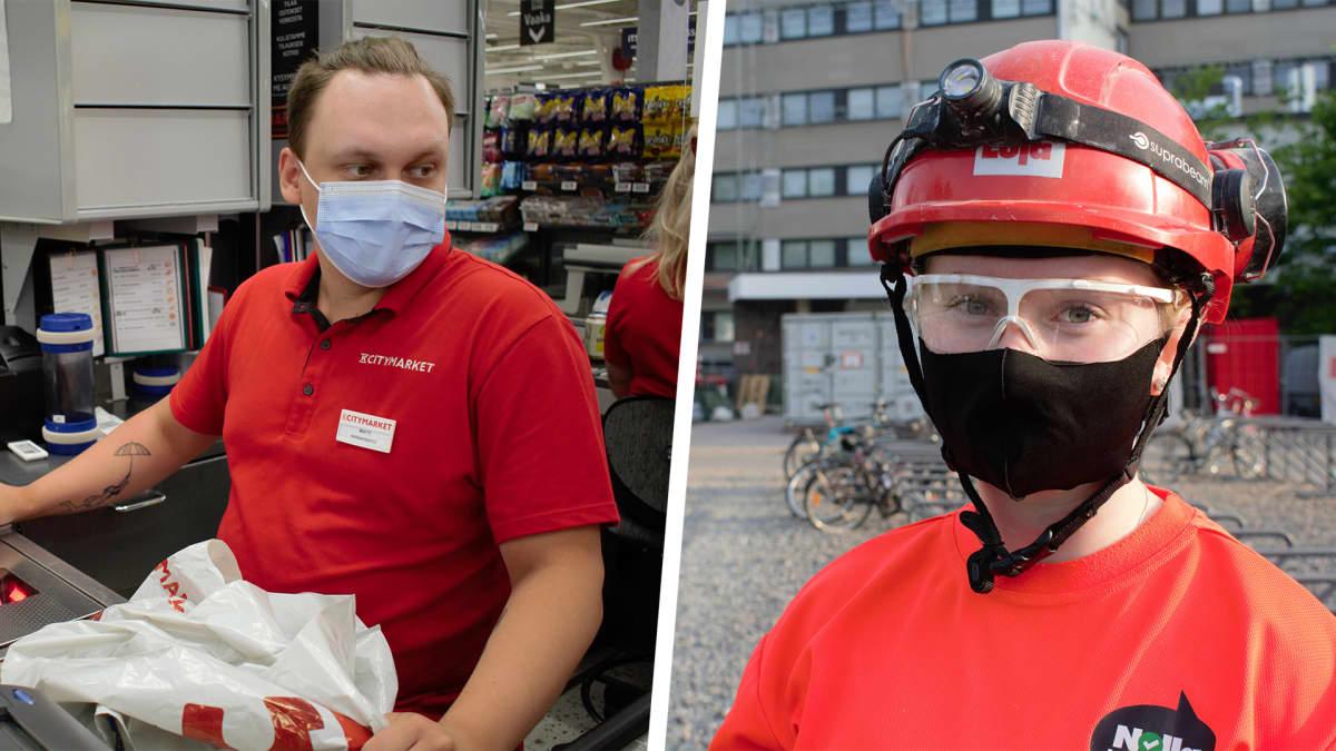 Monilla työpaikoilla maskit yhä kasvoilla
