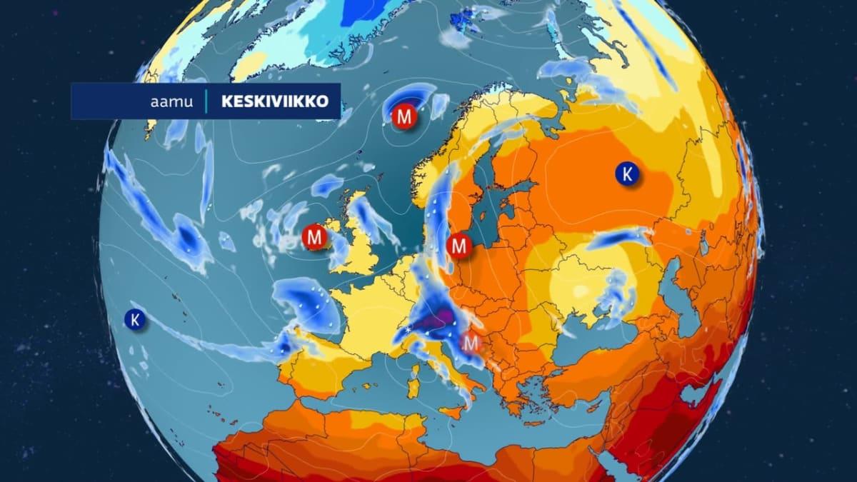 Lämmintä ilmaa virtaa Suomeen etelästä