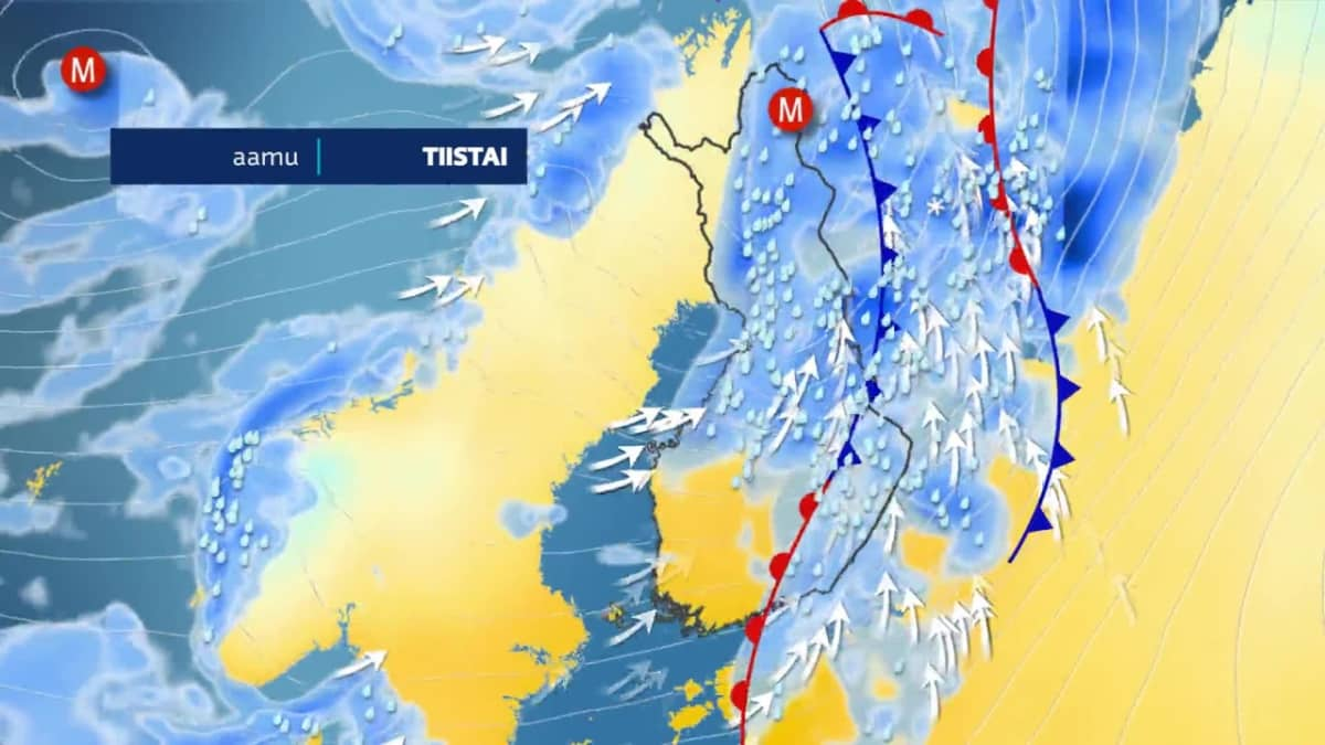 Myrsky pyyhkii Suomen yli maanantaina