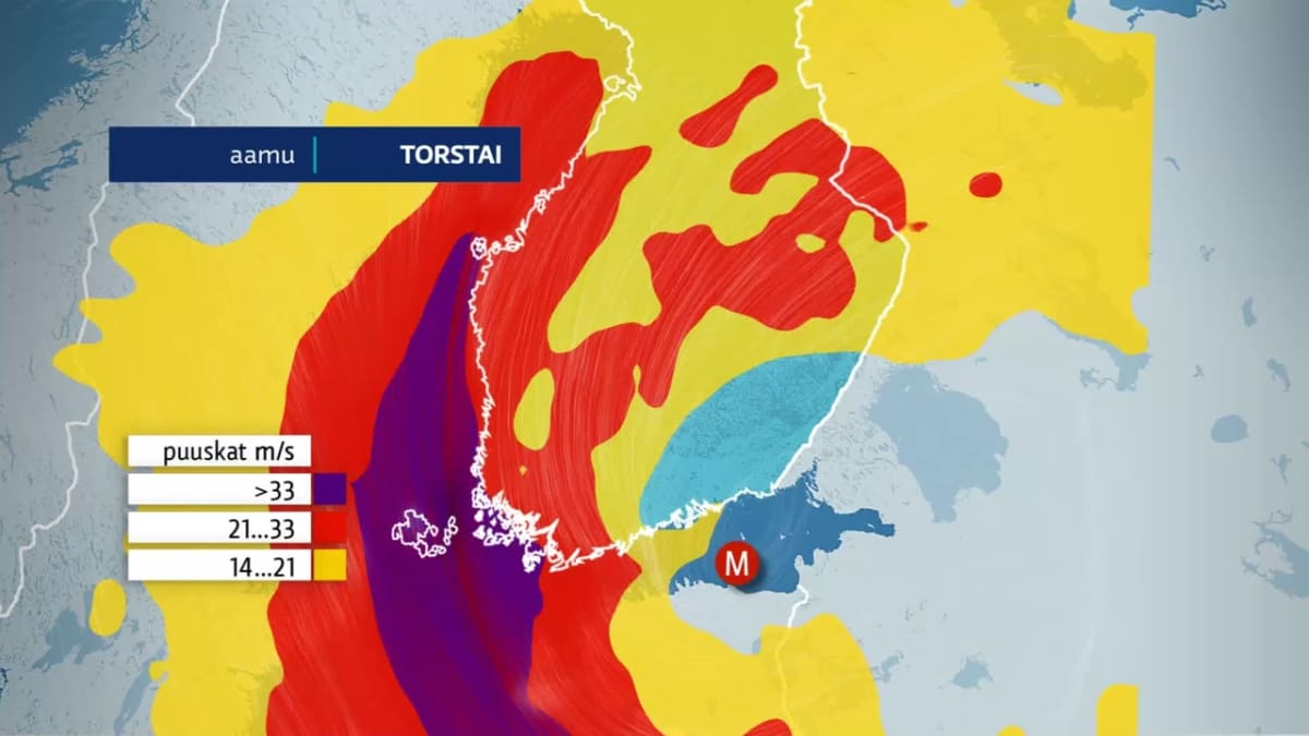 Matalapaine tuo syysmyrskyn Suomeen keskiviikkona ja torstaina