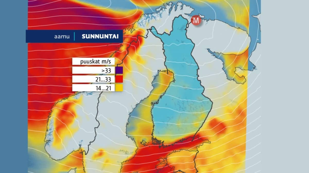 Tuuli ja sateet piiskaavat Suomea.
