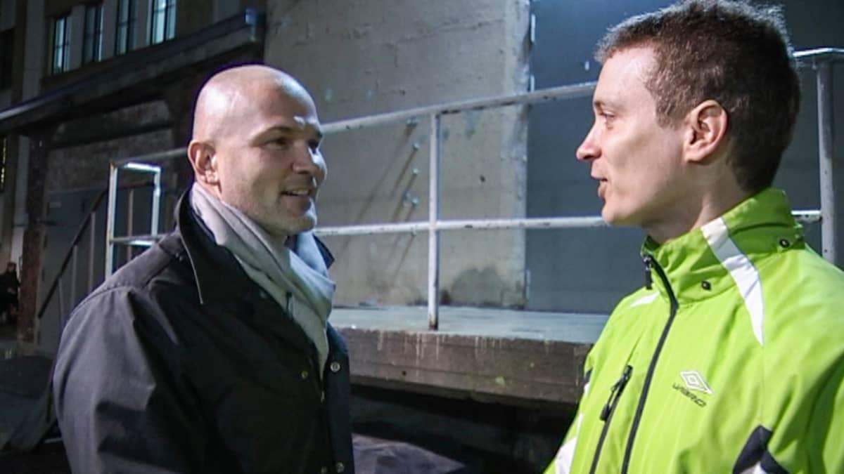 Pihlajalinnan entinen toimitusjohtaja Aarne Aktan ja downshiftaaja Jarmo Vestola.