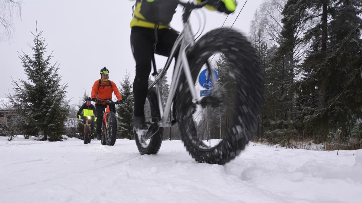 Pyöräilijöitä ylittämässä hiihtolatua