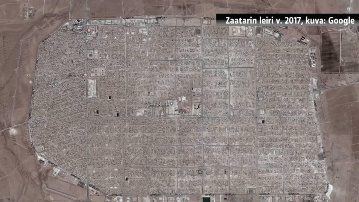Näin Zaatarin pakolaisleiri kasvoi kaupungiksi, ilmakuva