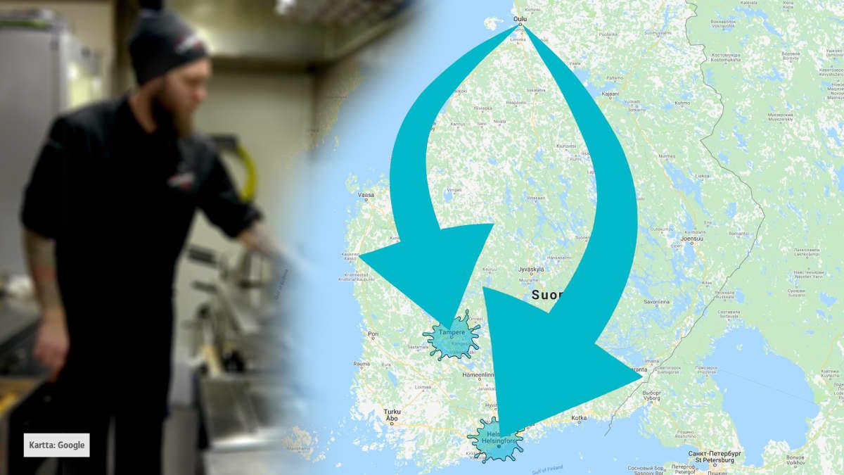 Nuolia Oulusta Etelä-Suomen kaupunkeihin.