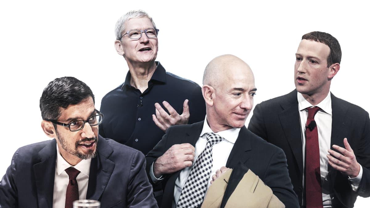 Kuvakollaasi, jossa Sundar Pakhai, Tim Cook, Jeff Bezos ja Mark Zuckerber.