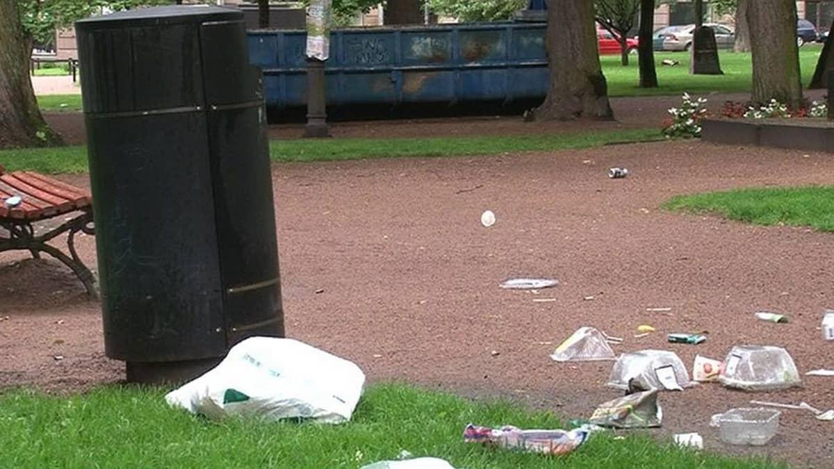 Monissa puistoissa nykyisiä roska-astioita ei pystytä tyhjentämään tarpeeksi usein.