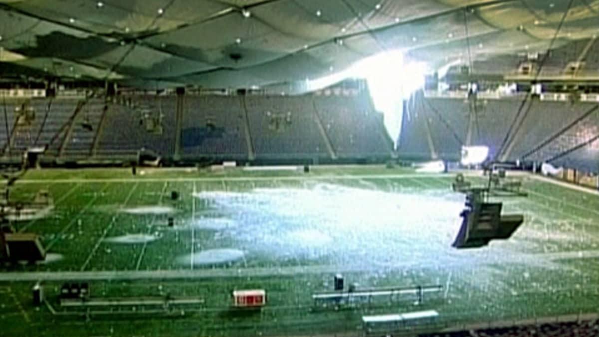 Lumen painosta romahtanut urheilustadionin katto
