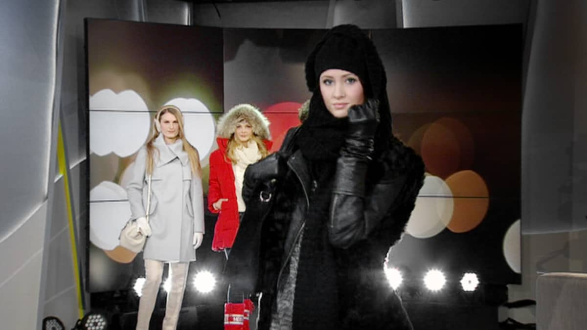 Talvimuotia esitellään Aamu-tv:n studiossa.