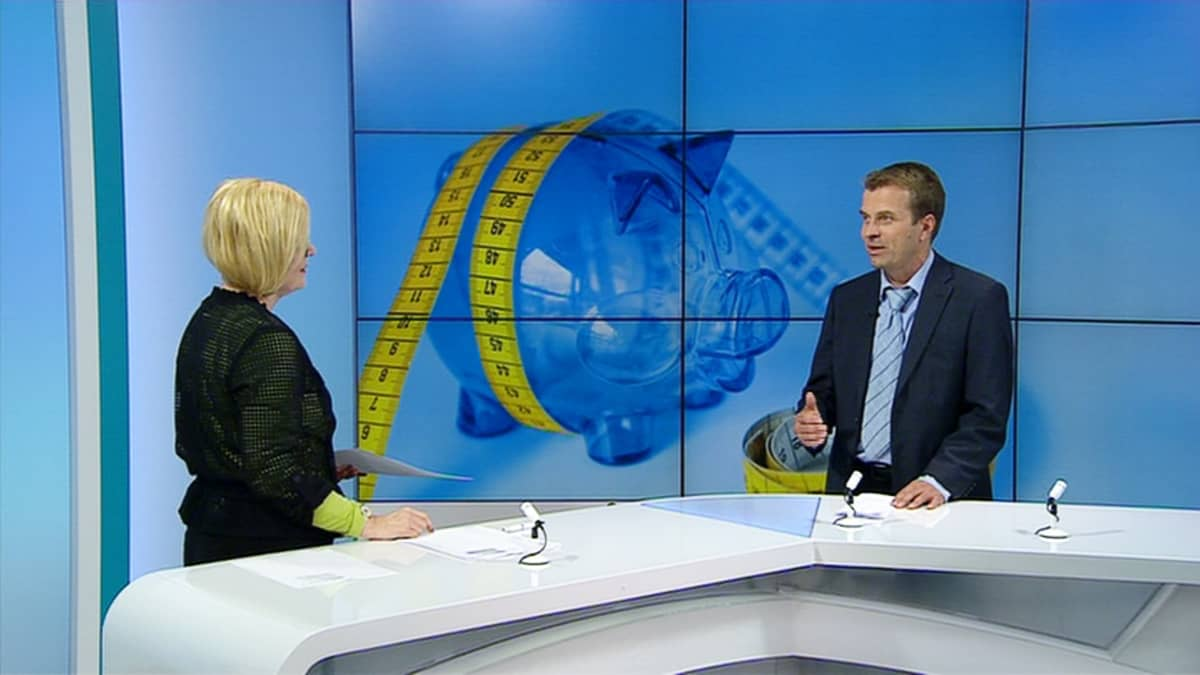 Professori Roope Uusitalo Tytti Sulanderin haastateltavana.