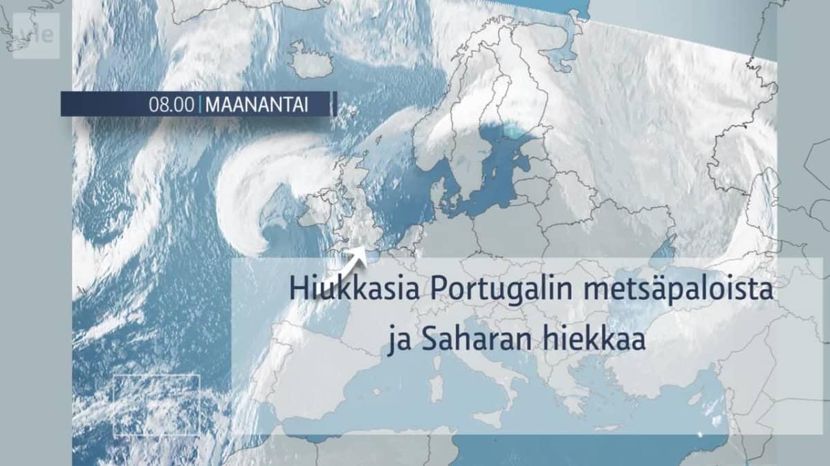 Sääkartta siitä, miten Portugalin metsäpalot ja Saharan hiekka kulkeutuvat Suomen ilmakehään.
