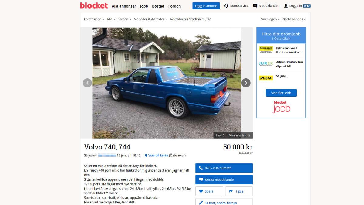 A-traktori-Volvon myynti-ilmoitus ruotsalaisella Blocket-sivustolla.