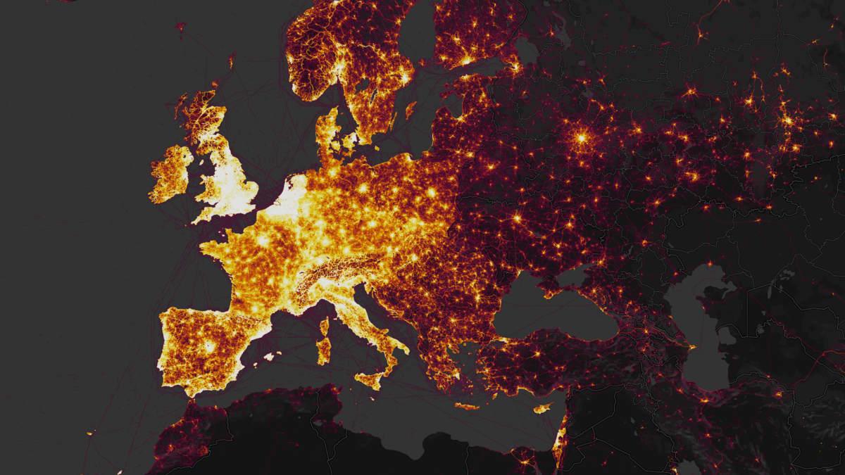 Aktiivista liikkumista kuvaava kartta Stravan nettisivuilla.