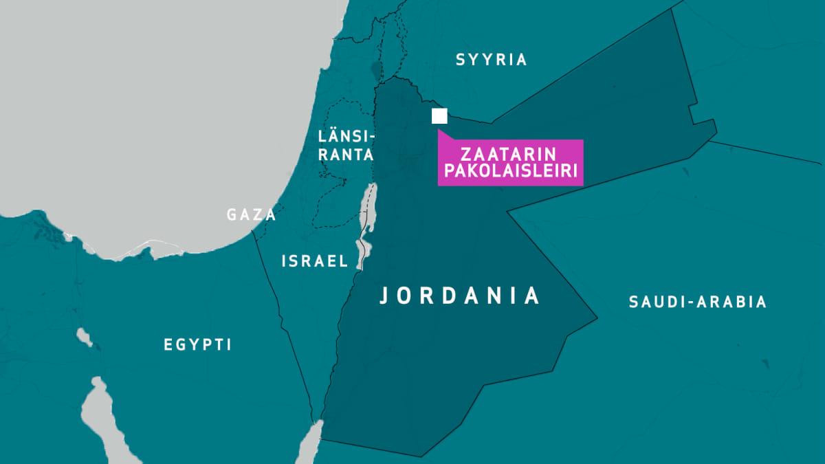 Zaatarin pakolaisleirin sijainti.