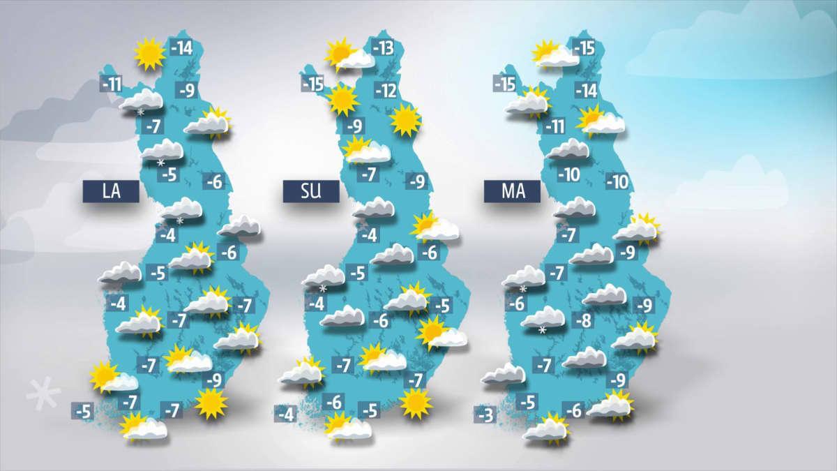 Lauantain, sunnuntain ja maanantain sääkartat.