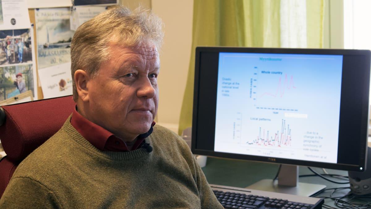 Professori Hannu Ylönen Istuu työpöytänsä ääressä.