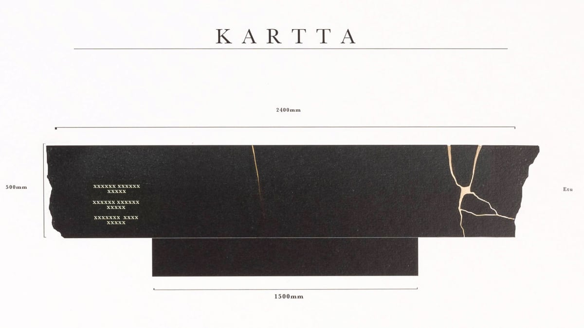 Presidentti Mauno Koiviston hautamuistomerkiksi valitun Kartta -teoksen mittapiirustus.