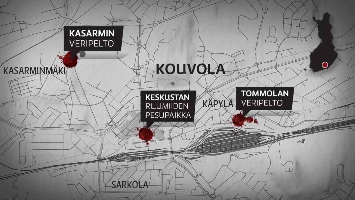 Karttagrafiikka Kouvolan vuoden 1918 tapahtumapaikoista