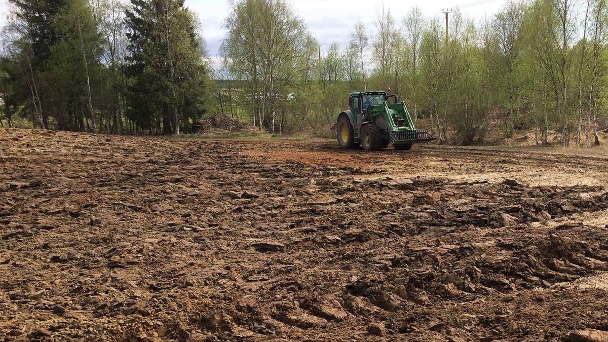 Traktori kyntää peltoa Tornion Karungissa.