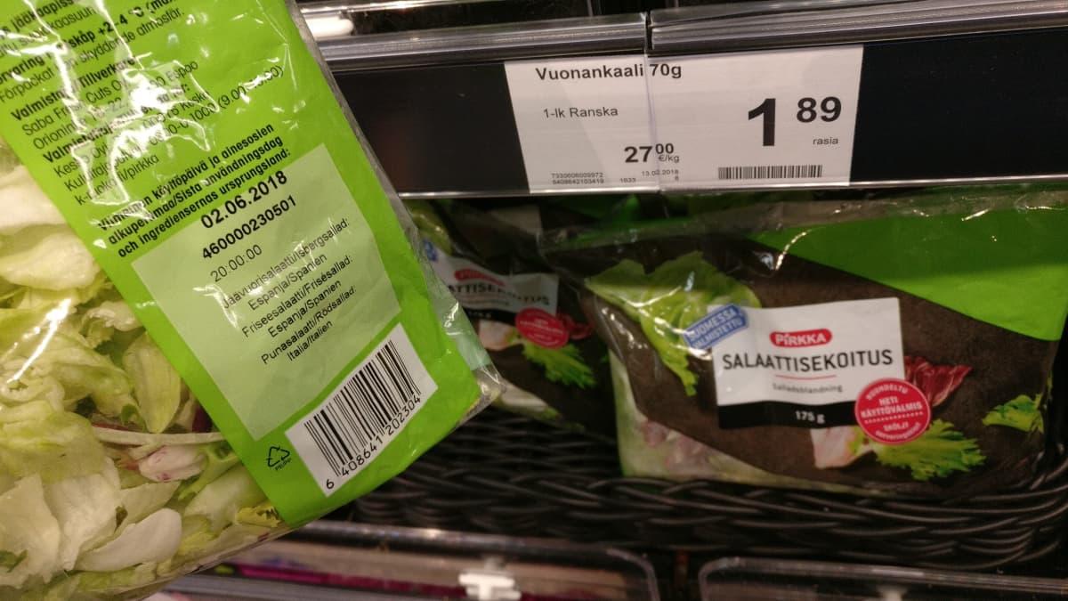 Osassa salaattisekoituksia päivämäärä pitää mainita, mutta kokonainen salaatti voidaan myydä ilman päivämäärämainintaa