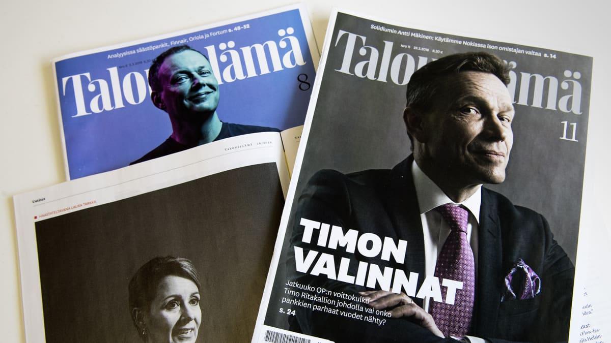 Talouselämä -lehtien kansia.