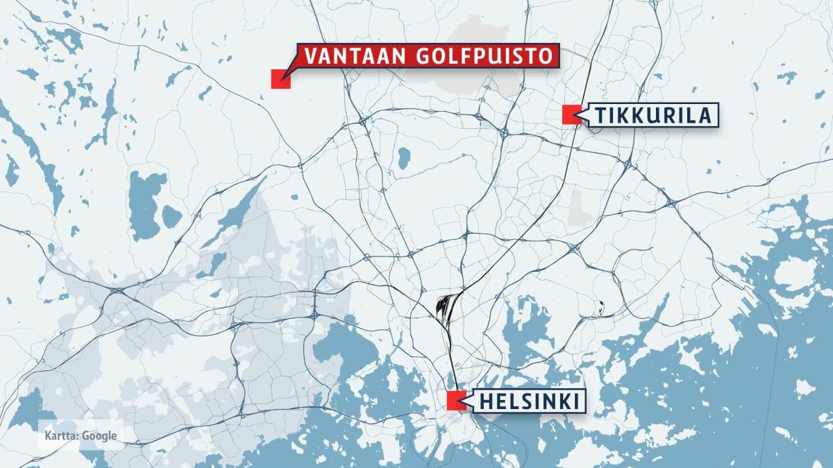 Kartta Vantaan golfpuiston sijannista.