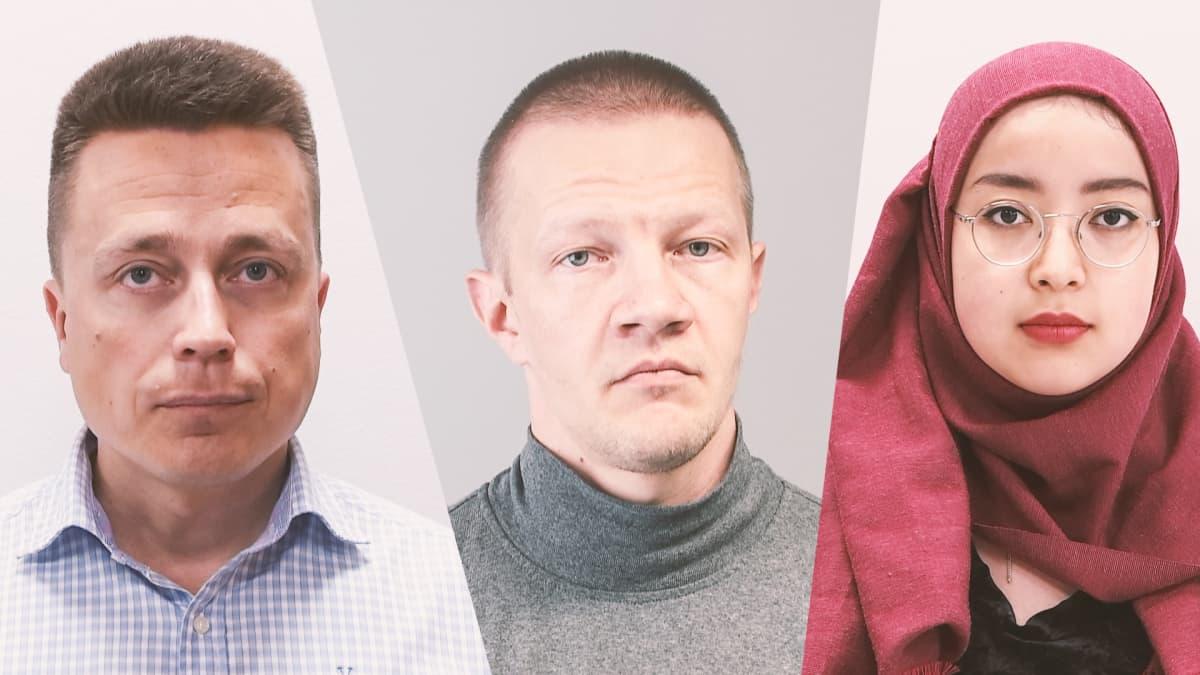 Atte Kaleva, Matias Turkkila ja Pazilaiti Simayijiang.