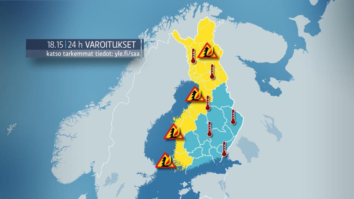 Sääkuva: Säävaroitukset Suomessa. Hellevaroituksia ja metsäpalovaroituksia on annettu monin paikoin.