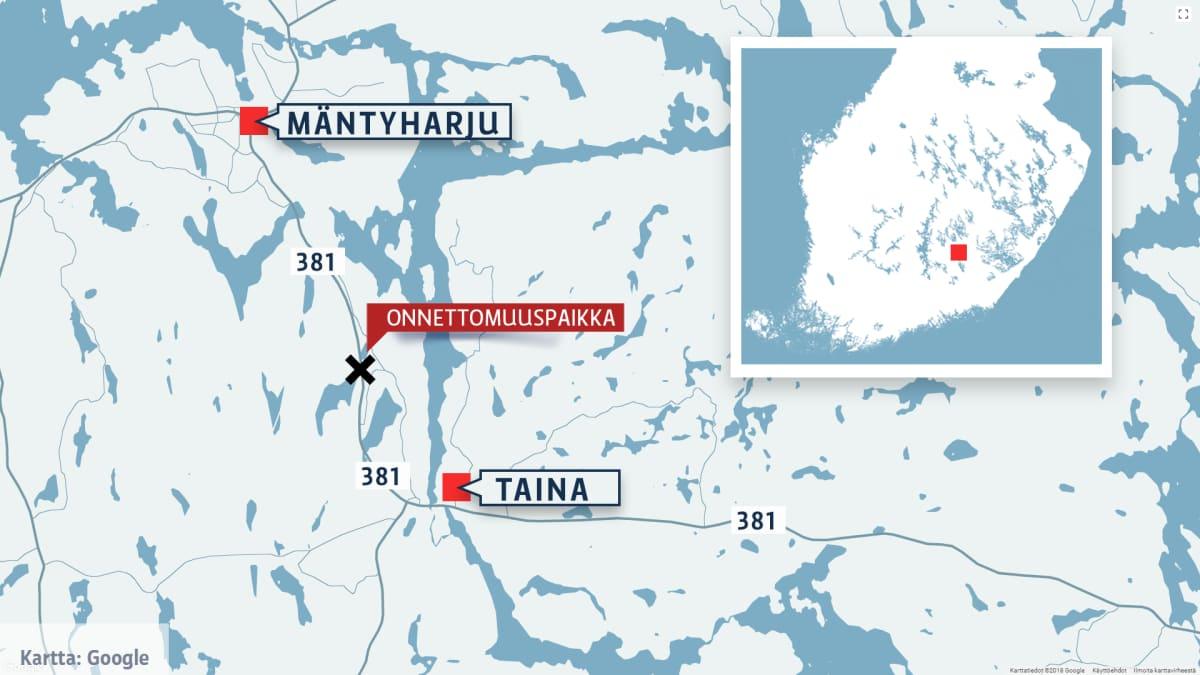 Mäntyharjun onnettomuuspaikka kartalla