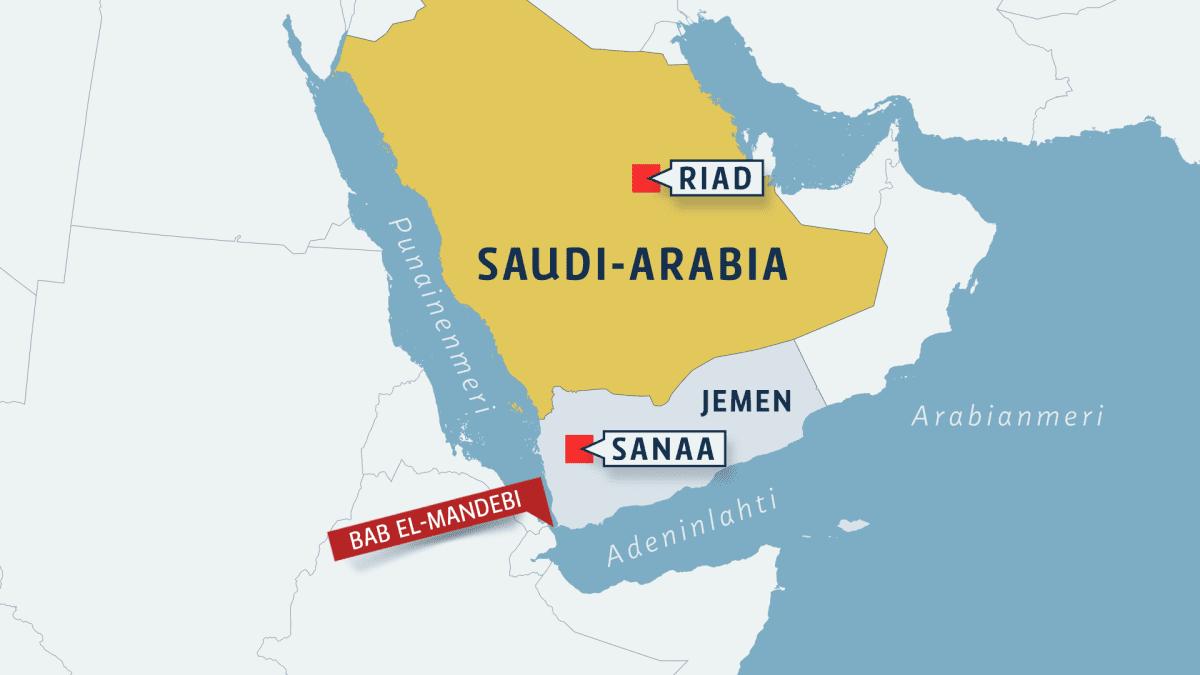 Kartta Saudi-Arabian alueesta.