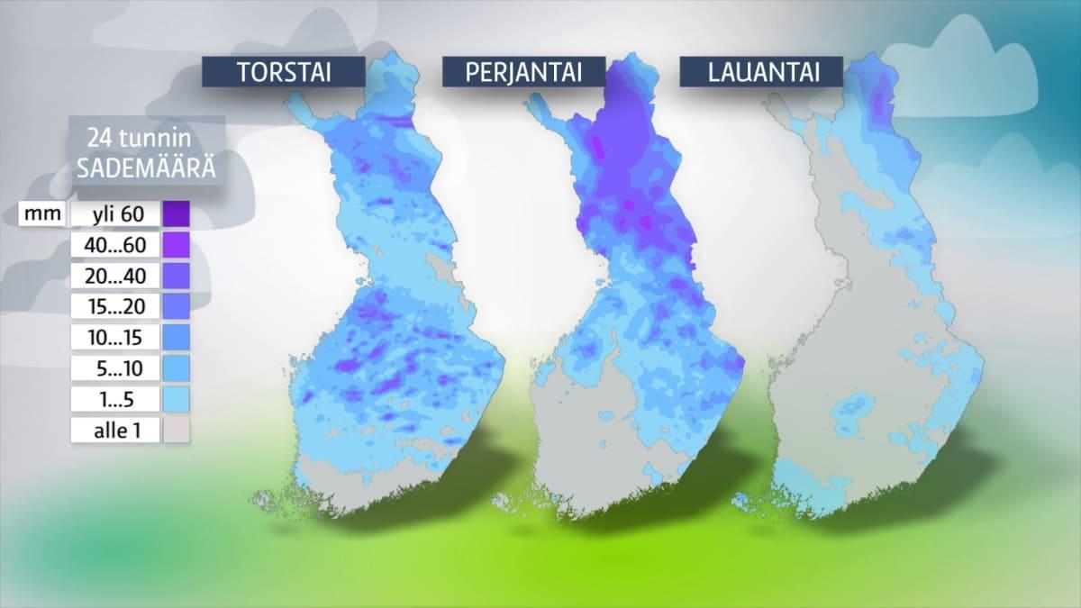 24 tunnin sademäärä -kartta.