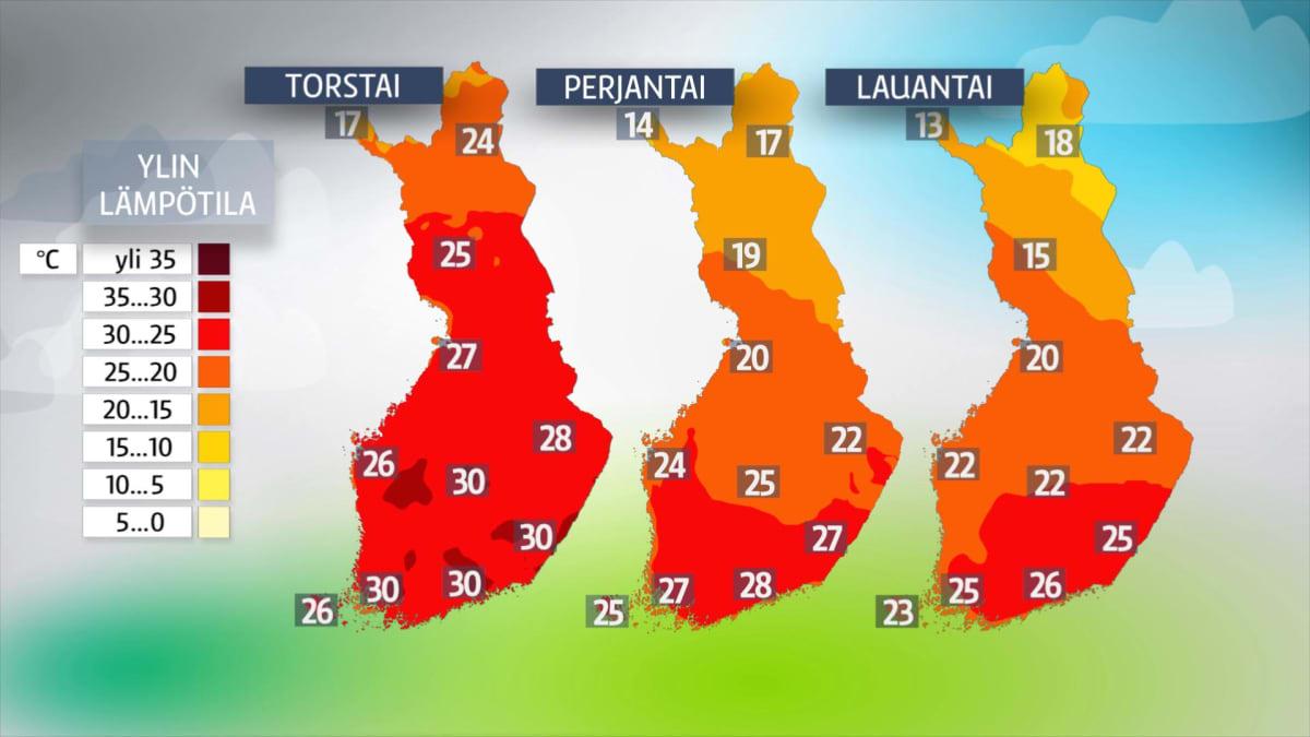 Ylin lämpötila -kartta.