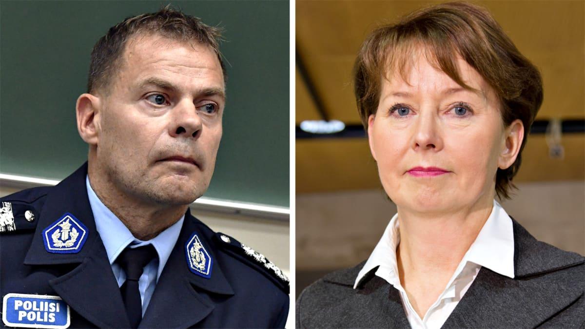 Keskusrikospoliisin päällikkö Robin Lardot ja valtakunnansyyttäjä Raija Toiviainen.