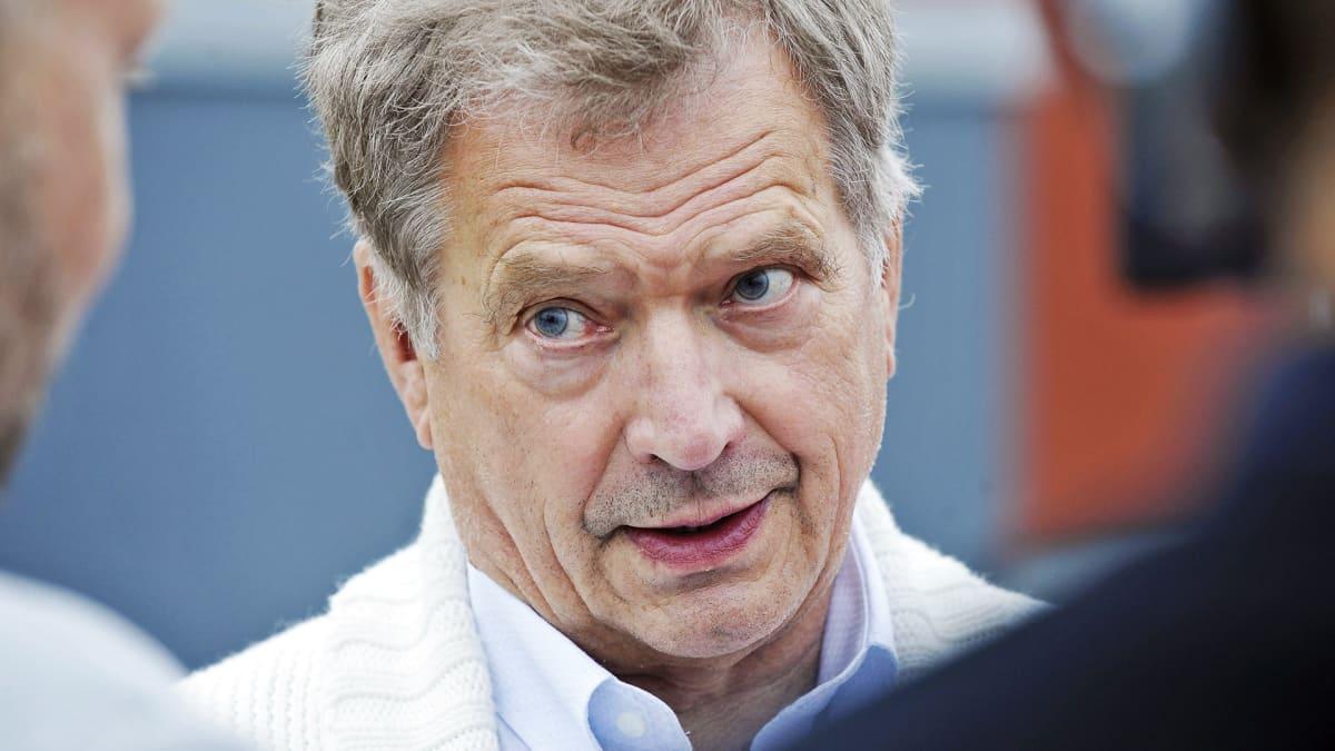 Tasavallan presidentti Sauli Niinistö Porin Asuntomessujen avajaisissa perjantaina 6. heinäkuuta.