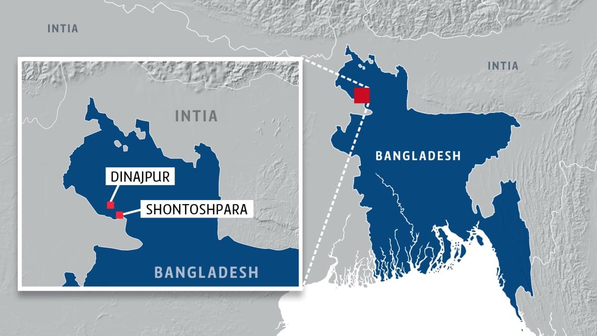 Kartta Bangladeshistä.