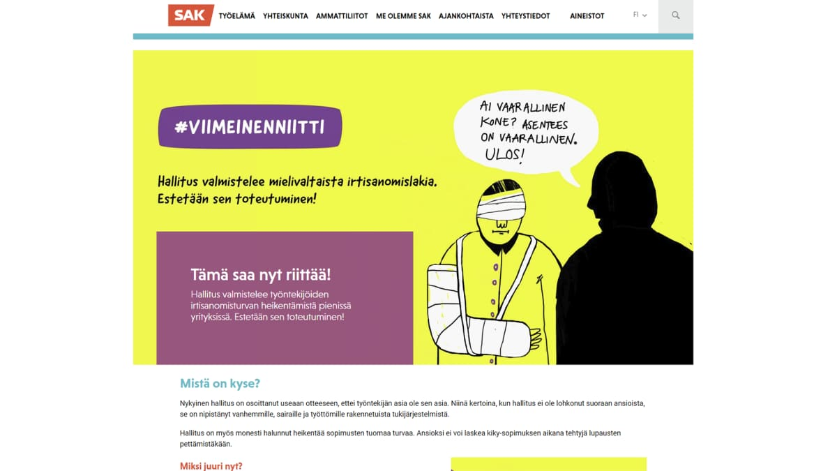 Kuvakaappaus SAK:n nettisivusta.