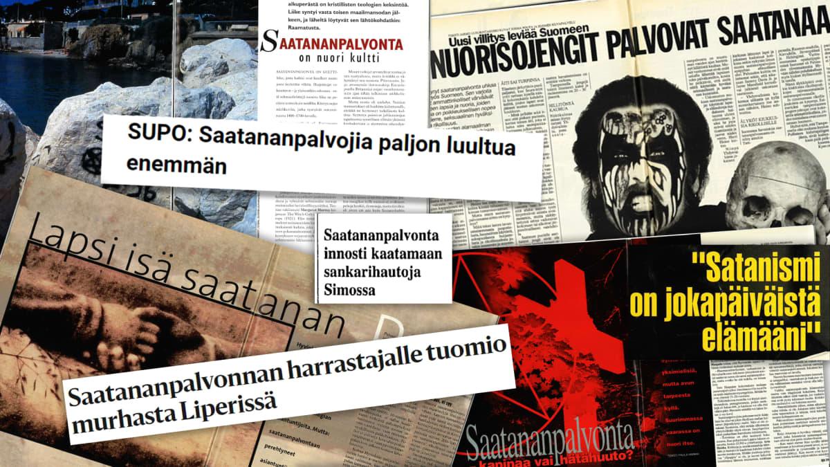 Saatananpalvonnasta ja satanismista kertovia lehtiotsikoita 1990-luvulta.