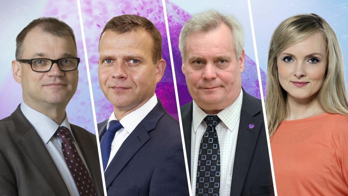 Juha Sipilä (kesk.), Petteri Orpo (kok.), Antti Rinne (sd.), Maria Ohisalo (vihr.)