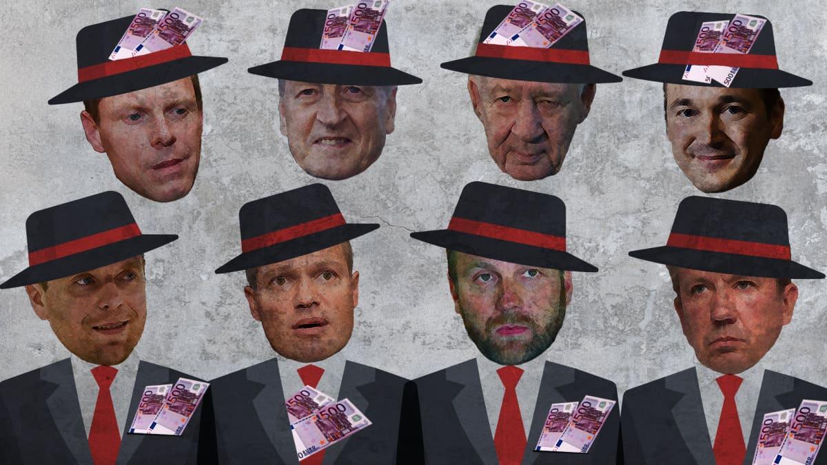 Kuvituskuva, jossa urheilujohtajia seteleitä hatussaan.