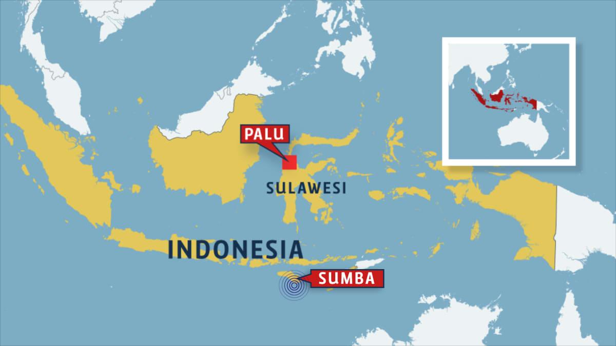 Indonesian alueen kartta, johon on merkitty maanjäristysalue Sumban saaren eteläosassa.