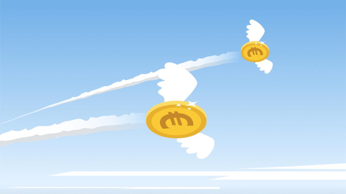 Kuvitus lentävistä siivekkäistä euroista taivaalla.