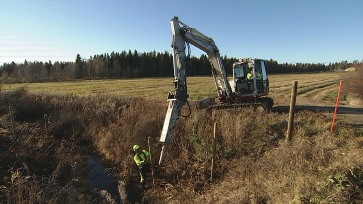 Ruotsalaisen yhtiön työntekijät rakentavat aitaa Muurolan eteläpuolella.