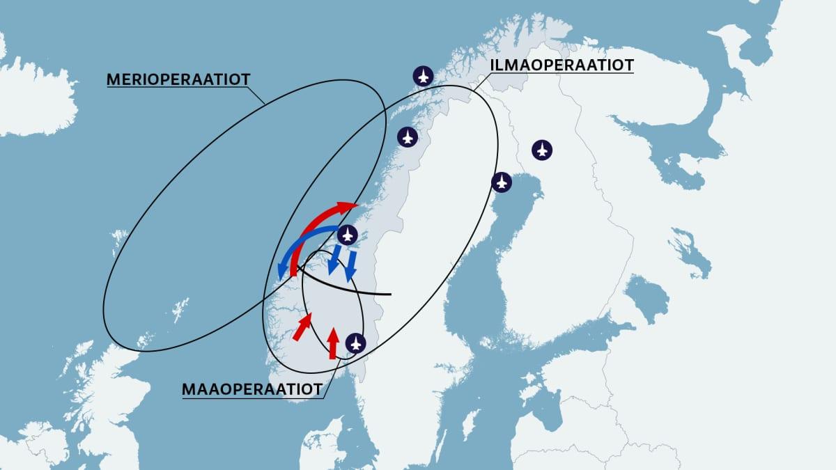 Kartta Norjan sotaharjoituksesta