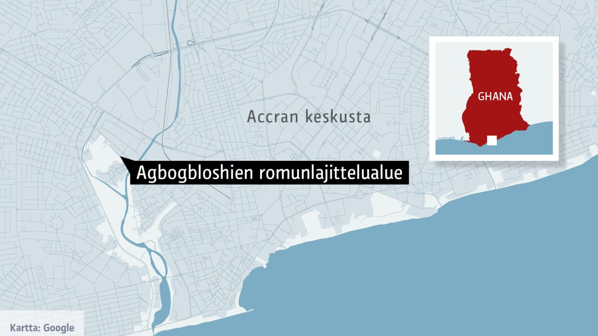 Agbogbloshien romunlajittelualue kartalla