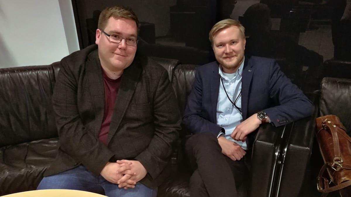 Suomen Opiskelija-Allianssin (Osku) pääsihteeri Juuso Luomala ja Suomen ammattiin opiskelevien liiton (SAKKI) koulutuspolitiikan asiantuntija Samuli Maxenius.